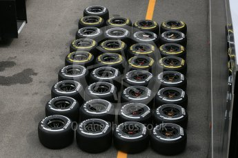 World © Octane Photographic Ltd. McLaren Honda MP4/30 Pirelli Soft (Yellow) and Medium (White) tyres. Thursday 3rd September 2015, F1 Italian GP Paddock, Monza, Italy. Digital Ref: 1400LB5D8150