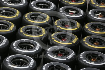 World © Octane Photographic Ltd. McLaren Honda MP4/30 Pirelli Soft (Yellow) and Medium (White) tyres. Thursday 3rd September 2015, F1 Italian GP Paddock, Monza, Italy. Digital Ref: 1400LB5D8153