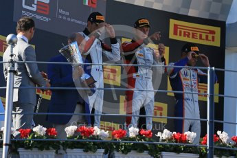 World © Octane Photographic Ltd. Sunday 6th September 2015. ART Grand Prix – Marvin Kirchhofer (1st) and Esteban Ocon (2nd) and Trident – Luca Ghiotto (3rd). GP3 Race 2 - Monza, Italy. Digital Ref. : 1415LB1D2241