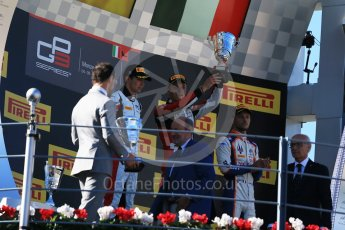 World © Octane Photographic Ltd. Sunday 6th September 2015. ART Grand Prix – Marvin Kirchhofer (1st) and Esteban Ocon (2nd) and Trident – Luca Ghiotto (3rd). GP3 Race 2 - Monza, Italy. Digital Ref. : 1415LB1D2250