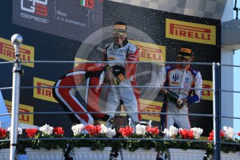 World © Octane Photographic Ltd. Sunday 6th September 2015. ART Grand Prix – Marvin Kirchhofer (1st) and Esteban Ocon (2nd) and Trident – Luca Ghiotto (3rd). GP3 Race 2 - Monza, Italy. Digital Ref. : 1415LB1D2296