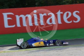 World © Octane Photographic Ltd. Sauber F1 Team C34-Ferrari – Felipe Nasr. Friday 4th September 2015, F1 Italian GP Practice 1, Monza, Italy. Digital Ref: 1405LB1D8822