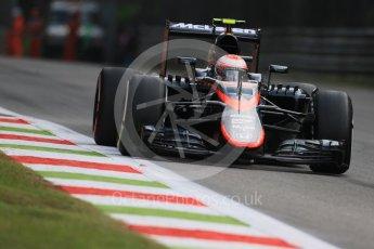 World © Octane Photographic Ltd. McLaren Honda MP4/30 - Jenson Button. Friday 4th September 2015, F1 Italian GP Practice 1, Monza, Italy. Digital Ref: 1405LB7D5772