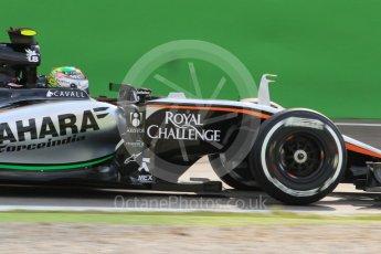 World © Octane Photographic Ltd. Sahara Force India VJM08B – Sergio Perez. Friday 4th September 2015, F1 Italian GP Practice 1, Monza, Italy. Digital Ref: 1405LB7D6319