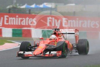 World © Octane Photographic Ltd. Scuderia Ferrari SF15-T– Sebastian Vettel. Friday 25th September 2015, F1 Japanese Grand Prix, Practice 2, Suzuka. Digital Ref: