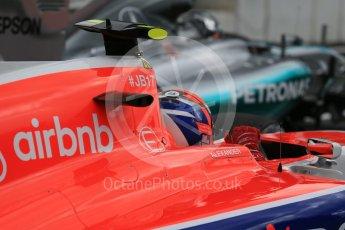 World © Octane Photographic Ltd. Manor Marussia F1 Team MR03B – Alexander Rossi and Mercedes AMG Petronas F1 W06 Hybrid – Nico Rosberg. Saturday 26th September 2015, F1 Japanese Grand Prix, Practice 3, Suzuka. Digital Ref: