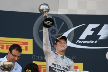 World © Octane Photographic Ltd. Mercedes AMG Petronas F1 W06 Hybrid – Nico Rosberg (2nd). Sunday 27th September 2015, F1 Japanese Grand Prix, Podium, Suzuka. Digital Ref: