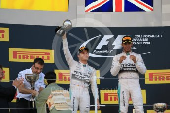 World © Octane Photographic Ltd. Mercedes AMG Petronas F1 W06 Hybrid – Lewis Hamilton (1st) and Nico Rosberg (2nd). Sunday 27th September 2015, F1 Japanese Grand Prix, Podium, Suzuka. Digital Ref: