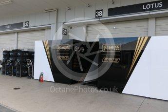 World © Octane Photographic Ltd. Lotus F1 Team E23 Hybrid – garage entry and tyre warmers. Saturday 26th September 2015, F1 Japanese Grand Prix, Paddock, Suzuka. Digital Ref: 1445CB7D6270