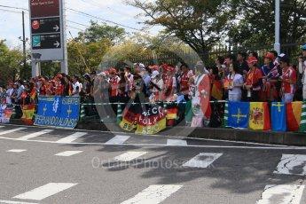 World © Octane Photographic Ltd. The Japanese fans waiting at the paddock entrance. Saturday 26th September 2015, F1 Japanese Grand Prix, Paddock, Suzuka. Digital Ref: 1445CB7D6338