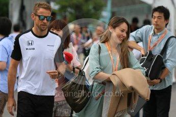 World © Octane Photographic Ltd. McLaren Honda MP4/30 - Jenson Button and Jessica Michibata. Sunday 27th September 2015, F1 Japanese Grand Prix, Setup, Suzuka. Digital Ref: 1448CB7D7765