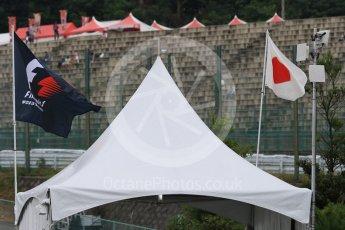 World © Octane Photographic Ltd. F1 and Japanese flags. Sunday 27th September 2015, F1 Japanese Grand Prix, Setup, Suzuka. Digital Ref: 1448CB7D7772