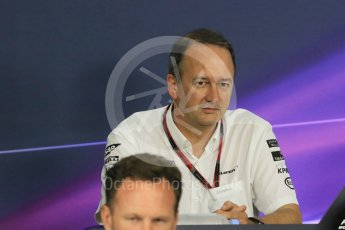 World © Octane Photographic Ltd. Team Personnel Press Conference. Friday 25th September 2015, F1 Japanese Grand Prix, Suzuka. Jonathan Neale – McLaren Honda – Chief Operating Officer and acting CEO. Digital Ref: 1444CB7D6143