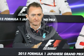 World © Octane Photographic Ltd. Team Personnel Press Conference. Friday 25th September 2015, F1 Japanese Grand Prix, Suzuka. Paddy Lowe - Mercedes AMG Petronas Executive Director. Digital Ref: 1444CB7D6150