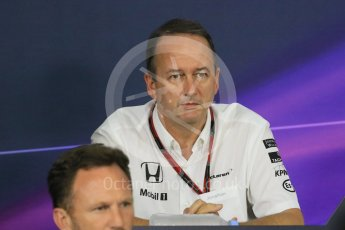 World © Octane Photographic Ltd. Team Personnel Press Conference. Friday 25th September 2015, F1 Japanese Grand Prix, Suzuka. Jonathan Neale – McLaren Honda – Chief Operating Officer and acting CEO. Digital Ref: 1444CB7D6184