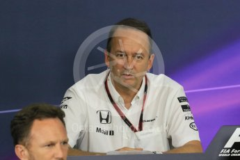 World © Octane Photographic Ltd. Team Personnel Press Conference. Friday 25th September 2015, F1 Japanese Grand Prix, Suzuka. Jonathan Neale – McLaren Honda – Chief Operating Officer and acting CEO. Digital Ref: 1444CB7D6199