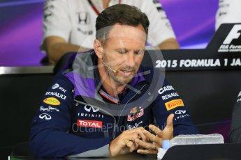 World © Octane Photographic Ltd. Team Personnel Press Conference. Friday 25th September 2015, F1 Japanese Grand Prix, Suzuka. Christian Horner – Infiniti Red Bull Racing team principle. Digital Ref: 1444CB7D6261