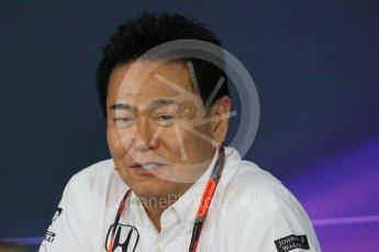 World © Octane Photographic Ltd. Team Personnel Press Conference. Friday 25th September 2015, F1 Japanese Grand Prix, Suzuka. Yasuhisa Arai - Honda Head of Motorsport. Digital Ref: 1444LB1D2061