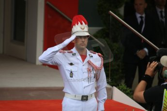 World © Octane Photographic Ltd. Ceremonial Guard. Sunday 24th May 2015, F1 Race - Podium, Monte Carlo, Monaco. Digital Ref: 1287CB7D8243