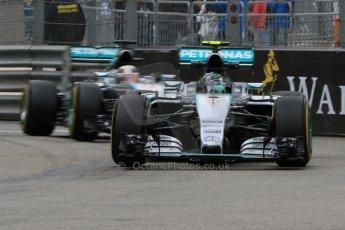 World © Octane Photographic Ltd. Mercedes AMG Petronas F1 W06 Hybrid – Nico Rosberg and Lewis Hamilton. Thursday 21st May 2015, F1 Practice 2, Monte Carlo, Monaco. Digital Ref: 1274CB7D3433