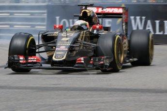 World © Octane Photographic Ltd. Lotus F1 Team E23 Hybrid – Romain Grosjean. Thursday 21st May 2015, F1 Practice 2, Monte Carlo, Monaco. Digital Ref: 1274CB7D3461
