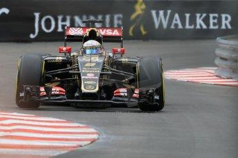 World © Octane Photographic Ltd. Lotus F1 Team E23 Hybrid – Romain Grosjean. Thursday 21st May 2015, F1 Practice 2, Monte Carlo, Monaco. Digital Ref: 1274CB7D3569