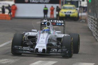 World © Octane Photographic Ltd. Williams Martini Racing FW37 – Felipe Massa. Thursday 21st May 2015, F1 Practice 2, Monte Carlo, Monaco. Digital Ref: 1274CB7D3610