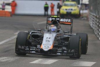 World © Octane Photographic Ltd. Sahara Force India VJM08 – Sergio Perez. Thursday 21st May 2015, F1 Practice 2, Monte Carlo, Monaco. Digital Ref: 1274CB7D3616