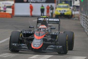 World © Octane Photographic Ltd. McLaren Honda MP4/30 - Jenson Button. Thursday 21st May 2015, F1 Practice 2, Monte Carlo, Monaco. Digital Ref: 1274CB7D3669