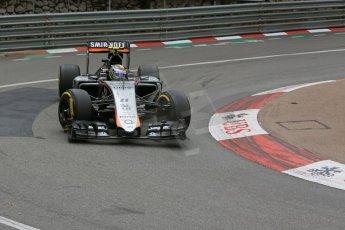 World © Octane Photographic Ltd. Sahara Force India VJM08 – Sergio Perez. Thursday 21st May 2015, F1 Practice 2, Monte Carlo, Monaco. Digital Ref: 1274LB5D2998