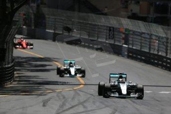 World © Octane Photographic Ltd. Mercedes AMG Petronas F1 W06 Hybrid – Lewis Hamilton. followed by his team mate Nico Rosberg. Sunday 24th May 2015, F1 Race, Monte Carlo, Monaco. Digital Ref: 1286LB1D8149