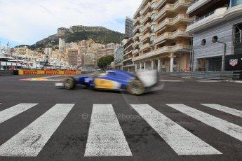 World © Octane Photographic Ltd. Sauber F1 Team C34-Ferrari – Marcus Ericsson. Thursday 21st May 2015, F1 Practice 1, Monte Carlo, Monaco. Digital Ref: 1272CB1L9761