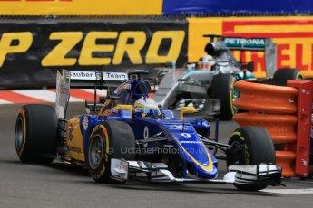 World © Octane Photographic Ltd. Sauber F1 Team C34-Ferrari – Marcus Ericsson. Thursday 21st May 2015, F1 Practice 1, Monte Carlo, Monaco. Digital Ref: 1272CB7D2875