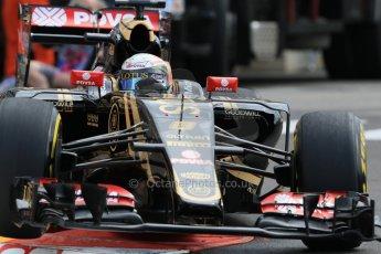 World © Octane Photographic Ltd. Lotus F1 Team E23 Hybrid – Romain Grosjean. Thursday 21st May 2015, F1 Practice 1, Monte Carlo, Monaco. Digital Ref: 1272CB7D2918