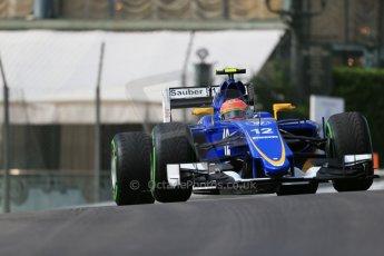World © Octane Photographic Ltd. Sauber F1 Team C34-Ferrari – Felipe Nasr. Thursday 21st May 2015, F1 Spanish GP Formula 1 Practice 1. Monte Carlo, Monaco. Digital Ref: 1272LB1D3307