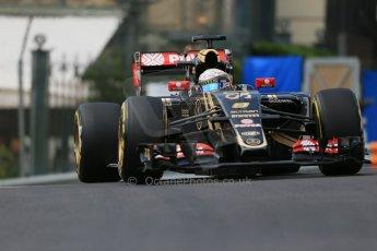 World © Octane Photographic Ltd. Lotus F1 Team E23 Hybrid – Romain Grosjean. Thursday 21st May 2015, F1 Practice 1, Monte Carlo, Monaco. Digital Ref: 1272LB1D3424