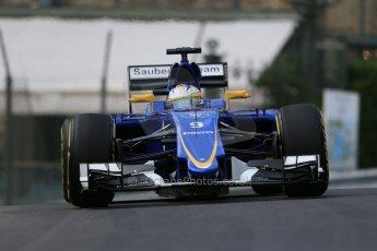 World © Octane Photographic Ltd. Sauber F1 Team C34-Ferrari – Marcus Ericsson. Thursday 21st May 2015, F1 Practice 1, Monte Carlo, Monaco. Digital Ref: 1272LB1D3508