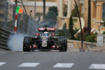 World © Octane Photographic Ltd. Lotus F1 Team E23 Hybrid – Romain Grosjean. Thursday 21st May 2015, F1 Practice 1, Monte Carlo, Monaco. Digital Ref: 1272LB1D3561