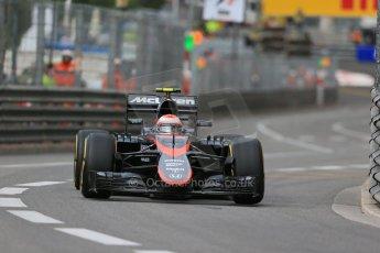 World © Octane Photographic Ltd. McLaren Honda MP4/30 - Jenson Button. Thursday 21st May 2015, F1 Practice 1, Monte Carlo, Monaco. Digital Ref: 1272LB1D3686