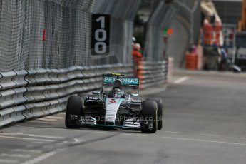 World © Octane Photographic Ltd. Mercedes AMG Petronas F1 W06 Hybrid – Nico Rosberg. Thursday 21st May 2015, F1 Practice 1, Monte Carlo, Monaco. Digital Ref: 1272LB1D3771