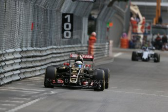World © Octane Photographic Ltd. Lotus F1 Team E23 Hybrid – Romain Grosjean. Thursday 21st May 2015, F1 Practice 1, Monte Carlo, Monaco. Digital Ref: 1272LB1D3892