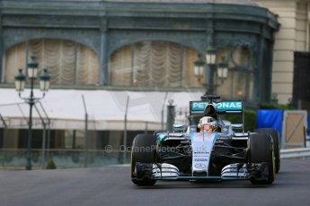 World © Octane Photographic Ltd. Mercedes AMG Petronas F1 W06 Hybrid – Lewis Hamilton. Thursday 21st May 2015, F1 Practice 1, Monte Carlo, Monaco. Digital Ref: 1272LB5D2615