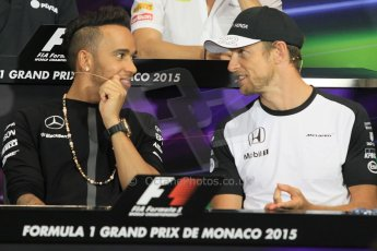 World © Octane Photographic Ltd. Mercedes AMG Petronas F1 – Lewis Hamilton and McLaren Honda - Jenson Button. Wednesday 20th May 2015, FIA Drivers' Press Conference, Monte Carlo, Monaco. Digital Ref: 1271CB1L9315