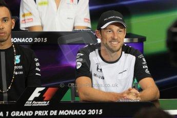 World © Octane Photographic Ltd. McLaren Honda - Jenson Button. Wednesday 20th May 2015, FIA Drivers' Press Conference, Monte Carlo, Monaco. Digital Ref: 1271CB1L9403