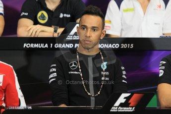 World © Octane Photographic Ltd. Mercedes AMG Petronas F1 – Lewis Hamilton. Wednesday 20th May 2015, FIA Drivers' Press Conference, Monte Carlo, Monaco. Digital Ref: 1271CB1L9428
