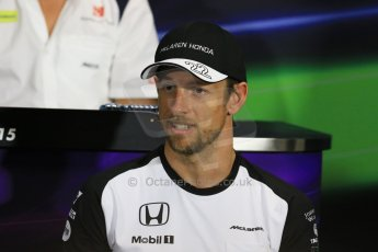 World © Octane Photographic Ltd. McLaren Honda - Jenson Button. Wednesday 20th May 2015, FIA Drivers' Press Conference, Monte Carlo, Monaco. Digital Ref: 1271CB7D2625