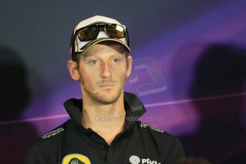 World © Octane Photographic Ltd. Lotus F1 Team – Romain Grosjean. Wednesday 20th May 2015, FIA Drivers' Press Conference, Monte Carlo, Monaco. Digital Ref: 1271LB1D3050