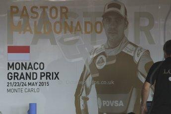 World © Octane Photographic Ltd. Lotus F1 Team E23 Hybrid – Pastor Maldonado. Wednesday 20th May 2015, F1 Pitlane, Monte Carlo, Monaco. Digital Ref: 1270CB1L9125