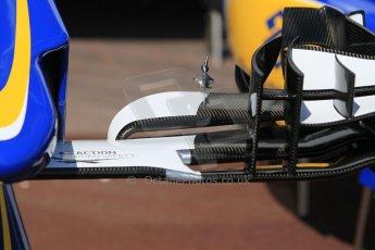 World © Octane Photographic Ltd. Sauber F1 Team C34-Ferrari front wing. Wednesday 20th May 2015, F1 Pitlane, Monte Carlo, Monaco. Digital Ref:  1270CB1L9133