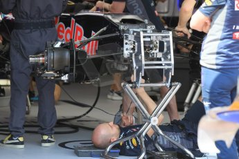 World © Octane Photographic Ltd. Infiniti Red Bull Racing RB11 front suspension. Wednesday 20th May 2015, F1 Pitlane, Monte Carlo, Monaco. Digital Ref:  1270CB1L9238